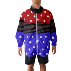 Mixed-lines-dots Black-bg Kids  Windbreaker by Casemiro