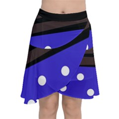 Mixed-lines-dots Black-bg Chiffon Wrap Front Skirt by Casemiro