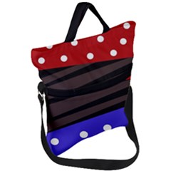 Mixed-lines-dots Black-bg Fold Over Handle Tote Bag by Casemiro