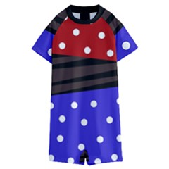 Mixed-lines-dots Black-bg Kids  Boyleg Half Suit Swimwear by Casemiro