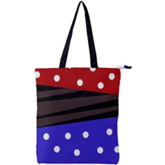 Mixed-lines-dots Black-bg Double Zip Up Tote Bag
