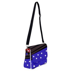 Mixed Polka Dots And Lines Pattern, Blue, Red, Brown Shoulder Bag With Back Zipper by Casemiro