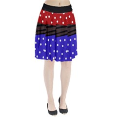 Mixed Polka Dots And Lines Pattern, Blue, Red, Brown Pleated Skirt by Casemiro