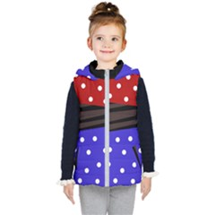 Mixed Polka Dots And Lines Pattern, Blue, Red, Brown Kids  Hooded Puffer Vest by Casemiro