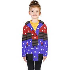 Mixed Polka Dots And Lines Pattern, Blue, Red, Brown Kids  Double Breasted Button Coat by Casemiro