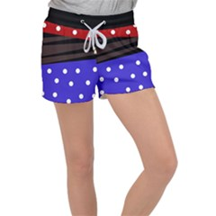 Mixed Polka Dots And Lines Pattern, Blue, Red, Brown Velour Lounge Shorts by Casemiro