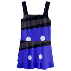 Mixed Polka Dots And Lines Pattern, Blue, Red, Brown Kids  Layered Skirt Swimsuit by Casemiro