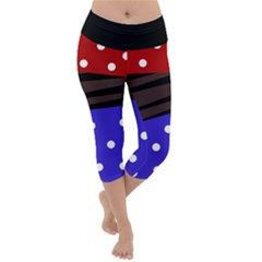 Mixed Polka Dots And Lines Pattern, Blue, Red, Brown Lightweight Velour Capri Yoga Leggings by Casemiro