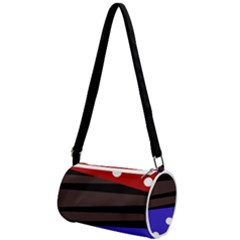Mixed Polka Dots And Lines Pattern, Blue, Red, Brown Mini Cylinder Bag by Casemiro