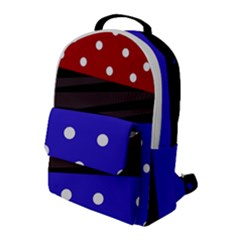 Mixed Polka Dots And Lines Pattern, Blue, Red, Brown Flap Pocket Backpack (large) by Casemiro