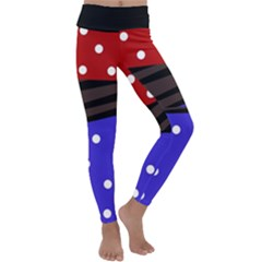 Mixed Polka Dots And Lines Pattern, Blue, Red, Brown Kids  Lightweight Velour Classic Yoga Leggings by Casemiro