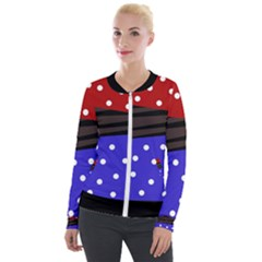 Mixed Polka Dots And Lines Pattern, Blue, Red, Brown Velour Zip Up Jacket by Casemiro