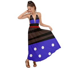 Mixed Polka Dots And Lines Pattern, Blue, Red, Brown Backless Maxi Beach Dress by Casemiro