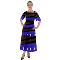 Mixed Polka Dots And Lines Pattern, Blue, Red, Brown Shoulder Straps Boho Maxi Dress  by Casemiro
