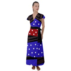 Mixed Polka Dots And Lines Pattern, Blue, Red, Brown Flutter Sleeve Maxi Dress by Casemiro
