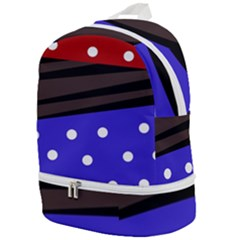Mixed Polka Dots And Lines Pattern, Blue, Red, Brown Zip Bottom Backpack by Casemiro
