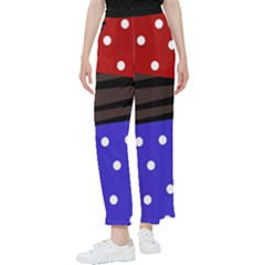 Mixed Polka Dots And Lines Pattern, Blue, Red, Brown Women s Pants