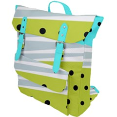 Mixed Polka Dots And Lines Pattern, Blue, Yellow, Silver, White Colors Buckle Up Backpack by Casemiro