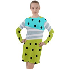 Mixed Polka Dots And Lines Pattern, Blue, Yellow, Silver, White Colors Long Sleeve Hoodie Dress