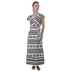 Black And White Aztec Flutter Sleeve Maxi Dress