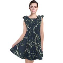 Neon Silhouette Leaves Print Pattern Tie Up Tunic Dress by dflcprintsclothing