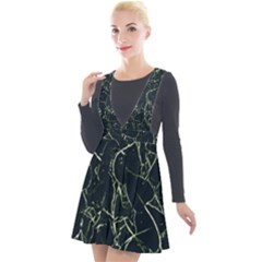 Neon Silhouette Leaves Print Pattern Plunge Pinafore Velour Dress by dflcprintsclothing