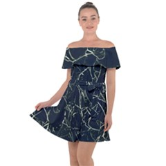 Neon Silhouette Leaves Print Pattern Off Shoulder Velour Dress by dflcprintsclothing
