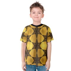 Black & Gold Geometric Stars Pattern  Kids  Cotton Tee