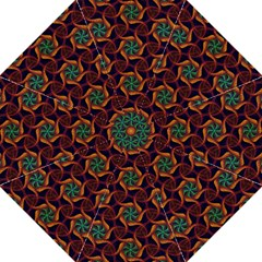 Teal Orange Burgundy Mandala Pattern Hook Handle Umbrellas (large)