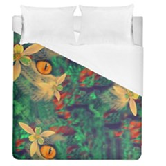 Illustrations Color Cat Flower Abstract Textures Orange Duvet Cover (queen Size)