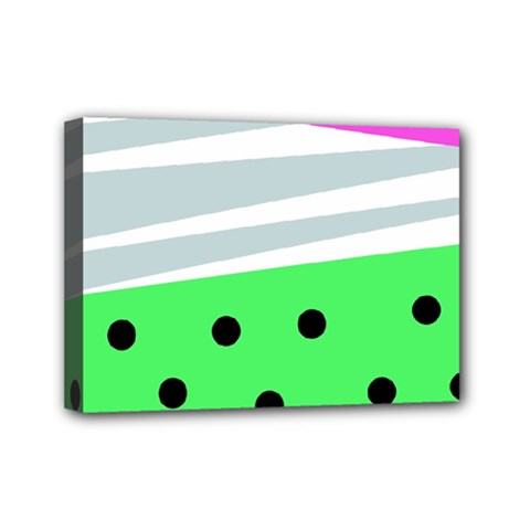 Dots And Lines, Mixed Shapes Pattern, Colorful Abstract Design Mini Canvas 7  X 5  (stretched) by Casemiro