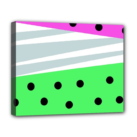 Dots And Lines, Mixed Shapes Pattern, Colorful Abstract Design Deluxe Canvas 20  X 16  (stretched) by Casemiro