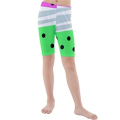 Dots And Lines, Mixed Shapes Pattern, Colorful Abstract Design Kids  Mid Length Swim Shorts by Casemiro