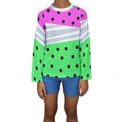 Dots And Lines, Mixed Shapes Pattern, Colorful Abstract Design Kids  Long Sleeve Swimwear by Casemiro