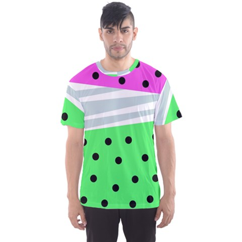 Dots And Lines, Mixed Shapes Pattern, Colorful Abstract Design Men s Sport Mesh Tee by Casemiro