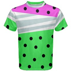 Dots And Lines, Mixed Shapes Pattern, Colorful Abstract Design Men s Cotton Tee by Casemiro