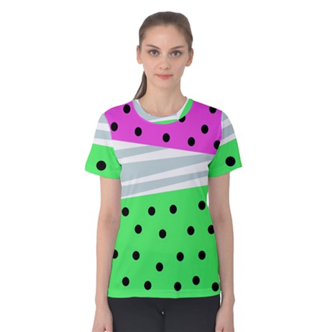 Dots And Lines, Mixed Shapes Pattern, Colorful Abstract Design Women s Cotton Tee by Casemiro