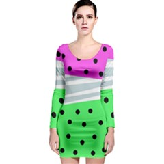 Dots And Lines, Mixed Shapes Pattern, Colorful Abstract Design Long Sleeve Bodycon Dress by Casemiro