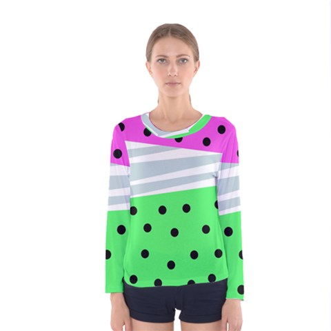 Dots And Lines, Mixed Shapes Pattern, Colorful Abstract Design Women s Long Sleeve Tee by Casemiro