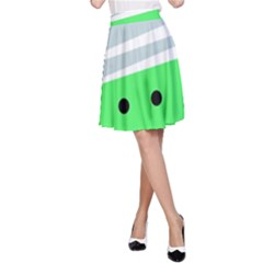 Dots And Lines, Mixed Shapes Pattern, Colorful Abstract Design A-line Skirt by Casemiro