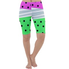 Dots And Lines, Mixed Shapes Pattern, Colorful Abstract Design Cropped Leggings  by Casemiro
