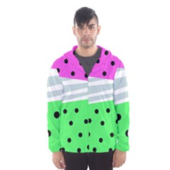 Dots And Lines, Mixed Shapes Pattern, Colorful Abstract Design Men s Hooded Windbreaker by Casemiro