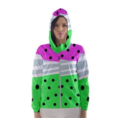 Dots And Lines, Mixed Shapes Pattern, Colorful Abstract Design Women s Hooded Windbreaker by Casemiro