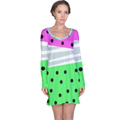Dots And Lines, Mixed Shapes Pattern, Colorful Abstract Design Long Sleeve Nightdress by Casemiro