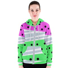 Dots And Lines, Mixed Shapes Pattern, Colorful Abstract Design Women s Zipper Hoodie by Casemiro