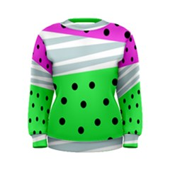 Dots And Lines, Mixed Shapes Pattern, Colorful Abstract Design Women s Sweatshirt by Casemiro