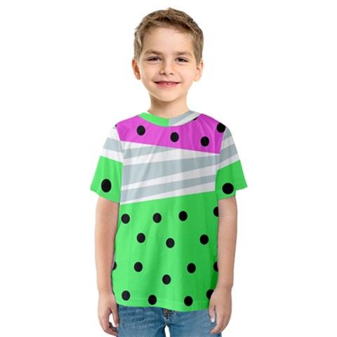 Dots And Lines, Mixed Shapes Pattern, Colorful Abstract Design Kids  Sport Mesh Tee by Casemiro