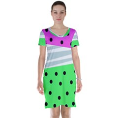 Dots And Lines, Mixed Shapes Pattern, Colorful Abstract Design Short Sleeve Nightdress by Casemiro