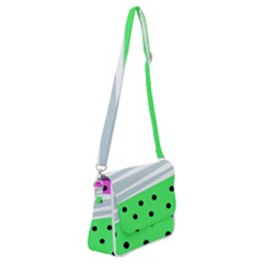Dots And Lines, Mixed Shapes Pattern, Colorful Abstract Design Shoulder Bag With Back Zipper by Casemiro