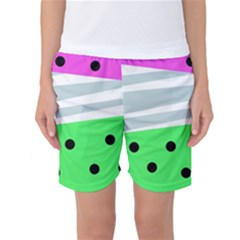 Dots And Lines, Mixed Shapes Pattern, Colorful Abstract Design Women s Basketball Shorts by Casemiro